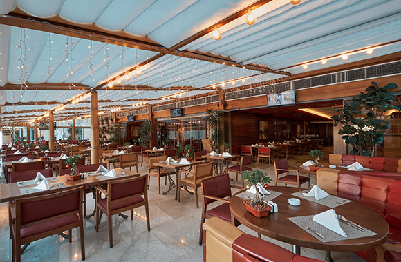 Winter garden - Tables Set with Lighting On and Menus Ready